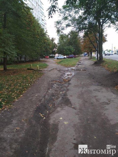 Житомиряни закликають кандидатів у депутати відремонтувати тротуар на Крошні. ФОТО
