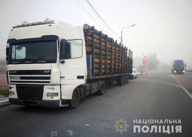 Біля Житомира поліція виявила вантажівку з нелегальною деревиною. ФОТО