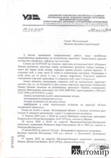 Дирекція коростенської залізниці звернулася до голови ОДА через травмування людей