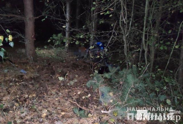 У Житомирській області мопед з'їхав з дороги та врізався в дерево, загинув пасажир. ФОТО