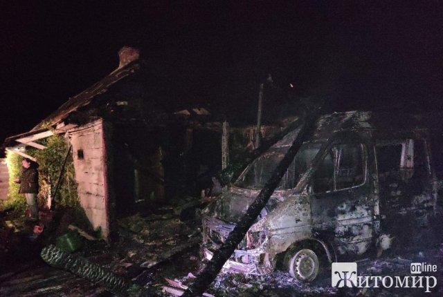 У селі Новоград-Волинського району горіла будівля переобладнана під фарбувальний цех: вогонь знищив мікроавтобус. ФОТО