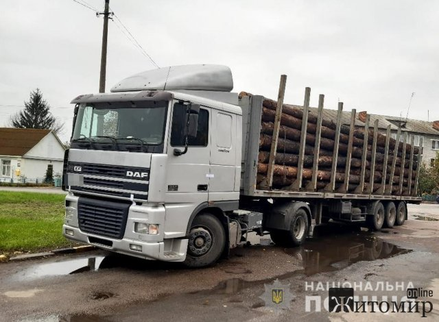 У райцентрі Житомирської області поліцейські зупинили DAF з сосновими колодами, документів на деревину водій не мав. ФОТО