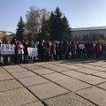 В центре Житомира вышли на митинг работники кафе и ресторанов. ФОТО