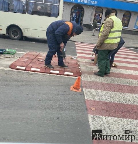 У Житомирі почали встановлювати гумові острівки безпеки. ФОТО