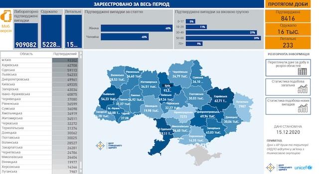 Опубликована карта распространения коронавируса по областям Украины на 15 декабря