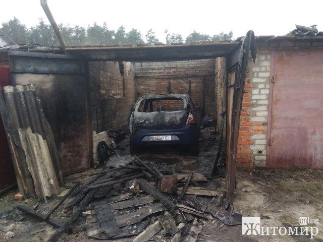 В одному з кооперативних гаражів Житомира сталася пожежа, згоріло авто та чоловік отримав опіки. ФОТО