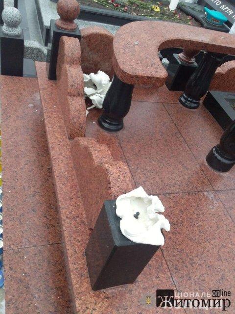 У Житомирі на військовому кладовищі 15-річний хлопець розбив скульптуру янгола. ФОТО