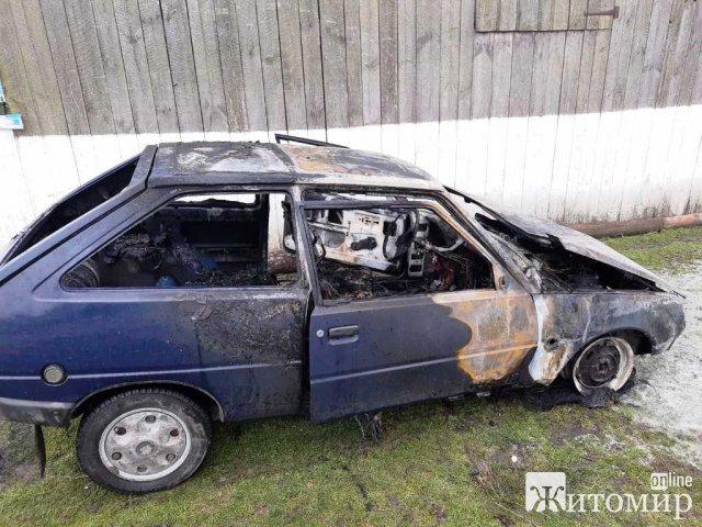 У селі на Житомирщині в гаражі загорілась автівка. ФОТО