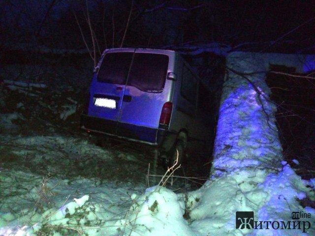 На дорозі в Житомирській області мікроавтобус злетів у кювет, рятувальники відігріли людей. ФОТО