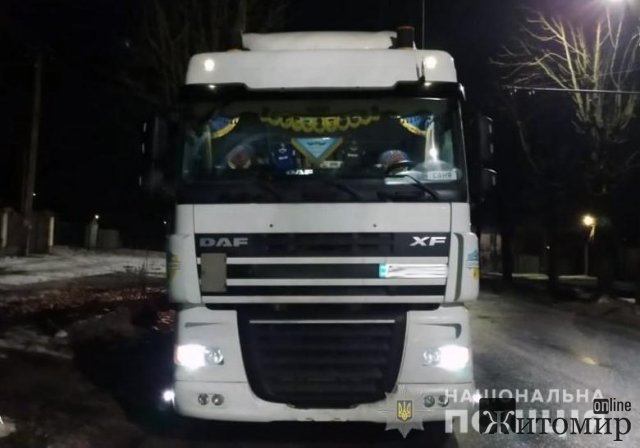 У Житомирі поліцейські зупинили вантажівку з деревиною. ФОТО