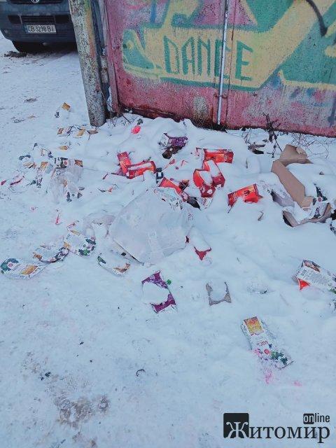 """Біля пішохідної вулиці в Житомирі валяються гори пачок з під вина, місцеві """"підозрюють"""" одне з кафе. ФОТО"""