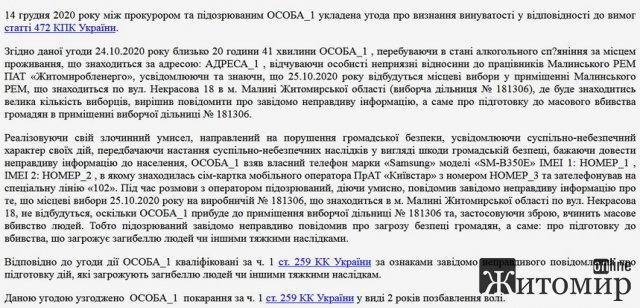 На Житомирщині суд виніс вирок чоловіку, який повідомив про заплановане масове вбивство на виборчій дільниці