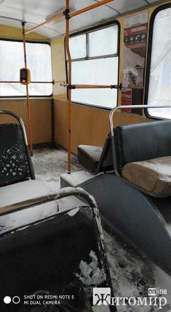 Засніжені салони житомирських тролейбусів. ФОТО