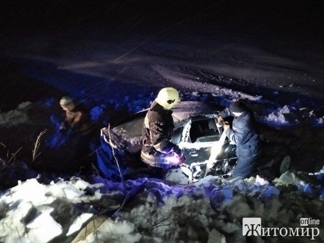 З кювету в Житомирській області рятувальники витягнули машину, в якій знаходилась сім'я з дітьми. ФОТО