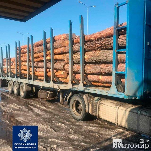На трасі у Житомирській області патрульні за порушення ПДР зупинили вантажівку, що перевозила деревину. ФОТО