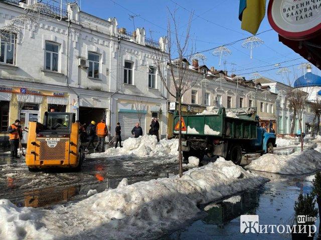 У Житомирі з Михайлівської вивозять сніг. ФОТО