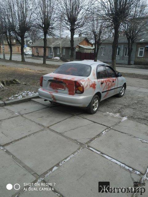 У Житомирі невідомі розмалювали автомобіль непристойними словами. ФОТО