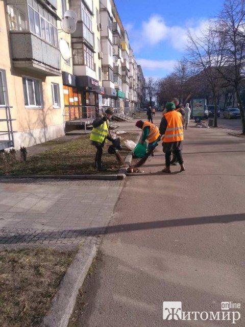 Як у Житомирі комунальники вулиці міста прибирали. ФОТО