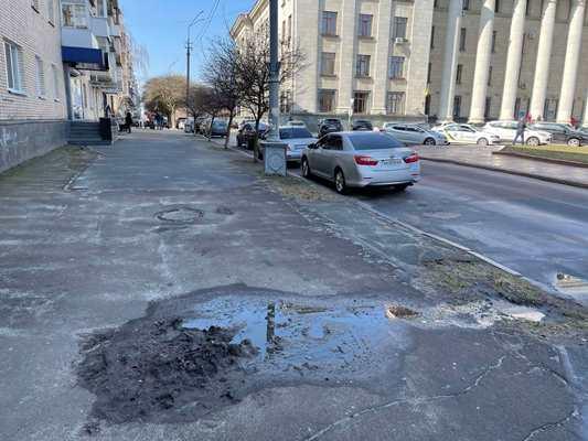 Смердюча баюра посеред тротуару в центрі Житомира. ФОТО