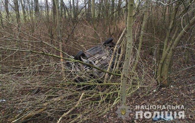 У Житомирському районі через мокру дорогу автівка з'їхала у кювет та перекинулась. ФОТО