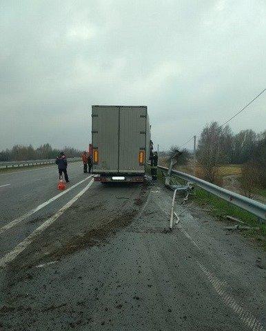 На Житомирщині фура знесла електроопору та дорожні знаки. ФОТО