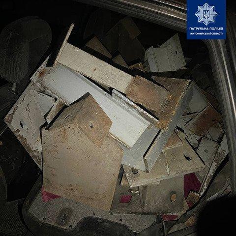 У Житомирі затримали п'яного водія, який перевозив кріплення від колесовідбійників. ФОТО