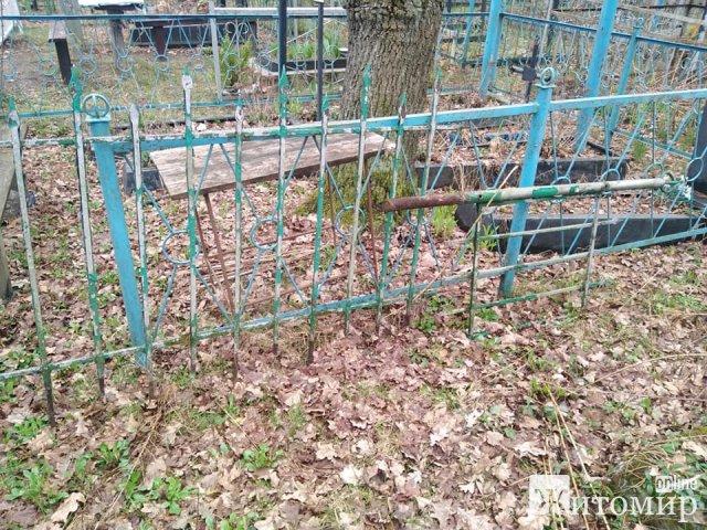 На Житомирщині з кладовища покрали метал: повикопували хрести й огорожі. ФОТО