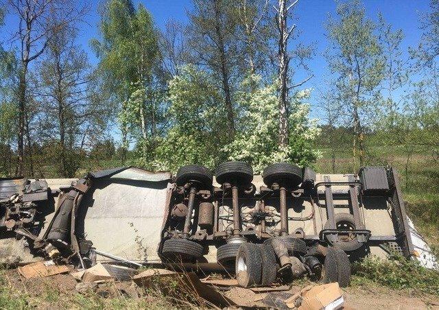 На Житомирщині вантажівка з'їхала у кювет та перекинулася. ФОТО