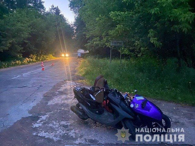 У Житомирі підлітки на скутері зіштовхнулись з мотоциклом. ФОТО