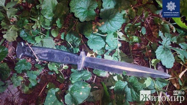 На Пушкінській в Житомирі патрульні затримали хулігана з ножем. ФОТО