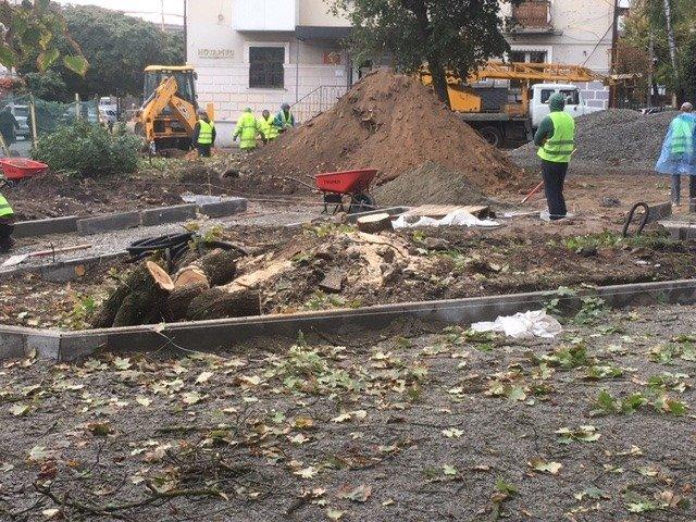 У Житомирі продовжують знищувати дерева через реконструкцію скверика на розі Театральної та Великої Бердичівської. ФОТО