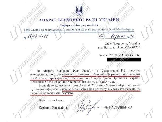 У нас його немає: у Раді не змогли показати журналістам План трансформації України